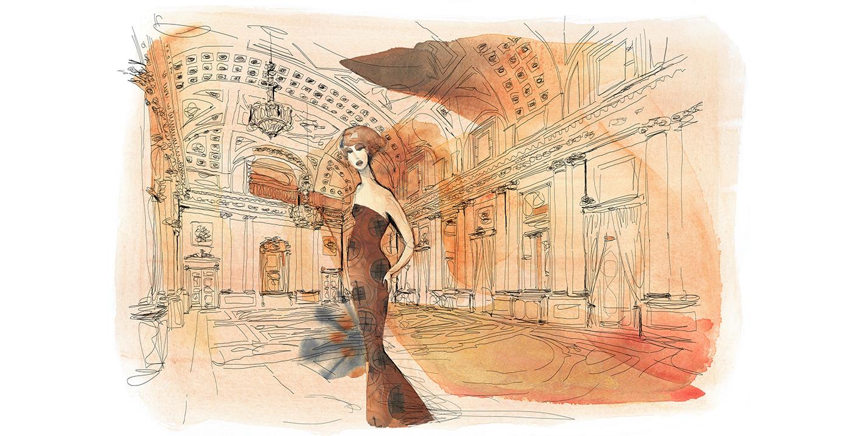 Watercolor fashion illustration, Palazzo italiano, Milano, Alessandra Scandella