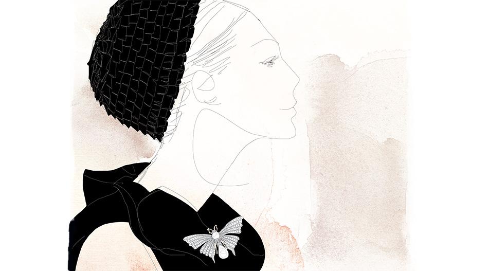 Watercolor fashion illustration, woman portrait, Alessandra Scandella