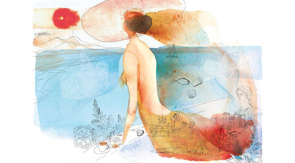 Illustrazione Golfo Napoli, Naples, seaside, watercolor, Alessandra Scandella