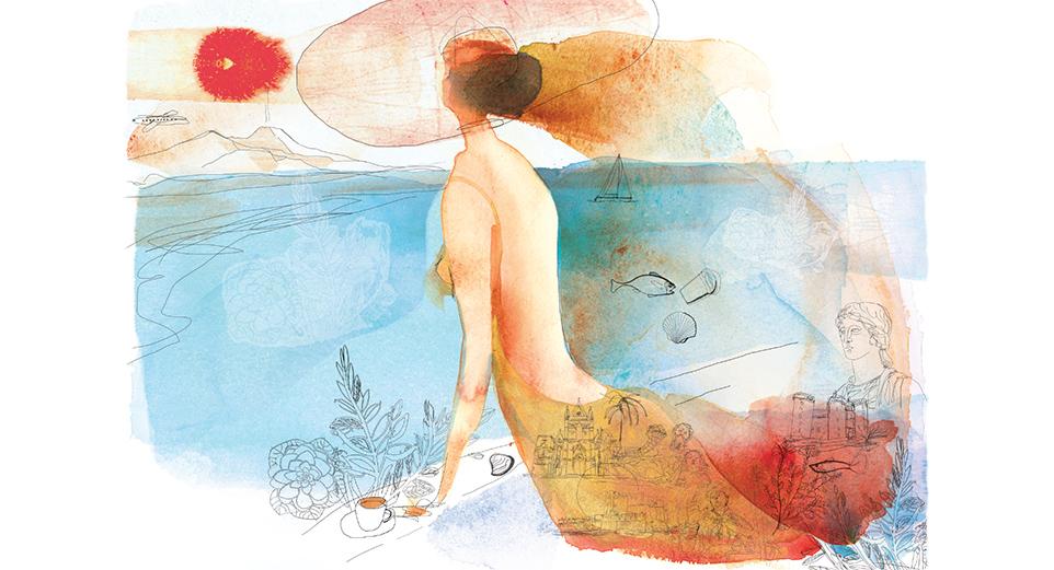 Illustrazione acquerello, Golfo Napoli, Naples, seaside, watercolor