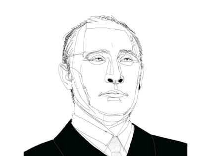 Ink illustration, illustrazione china, ritratto, portrait, Putin, Alessandra Scandella
