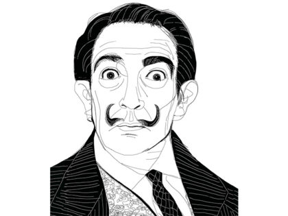 Ink illustration, portrait, ritratto ,Dali', Alessandra Scandella