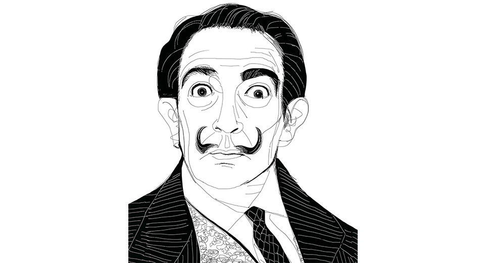 Ink illustration, portrait, ritratto ,Dali'
