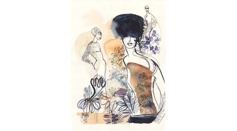 Watercolor fashion illustration, exhibition Turin, mostra Torino, illustrazione moda, Alessandra Scandella