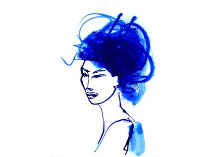 Woman portrait, ritratto donna, blu, Alessandra Scandella