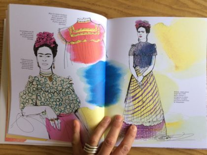 video libro illustrato acquerello, Frida Kahlo, Frida Vestida, fashion watercolor illustration book