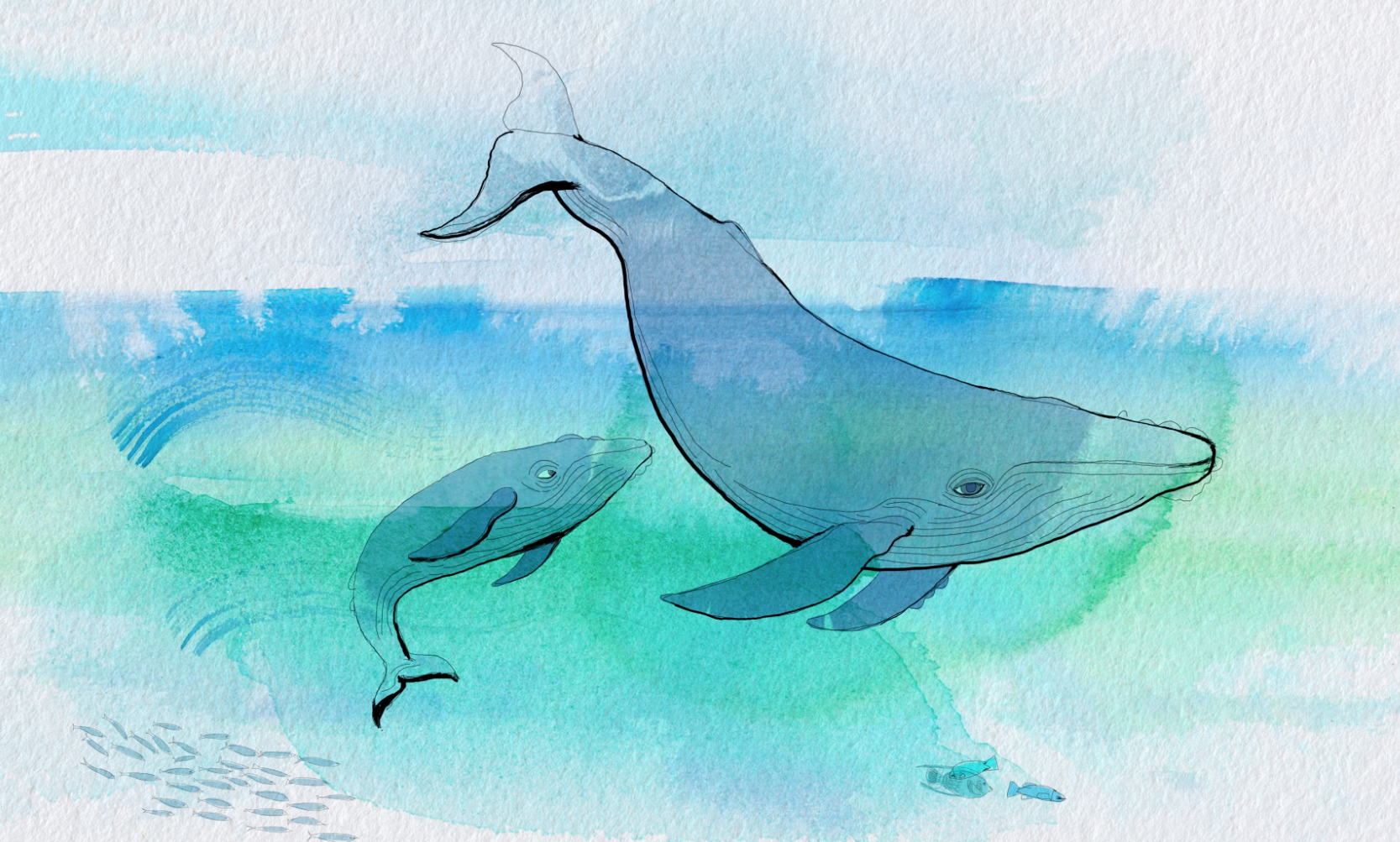 whales extintion, sea and pollution, illustration watercolor
