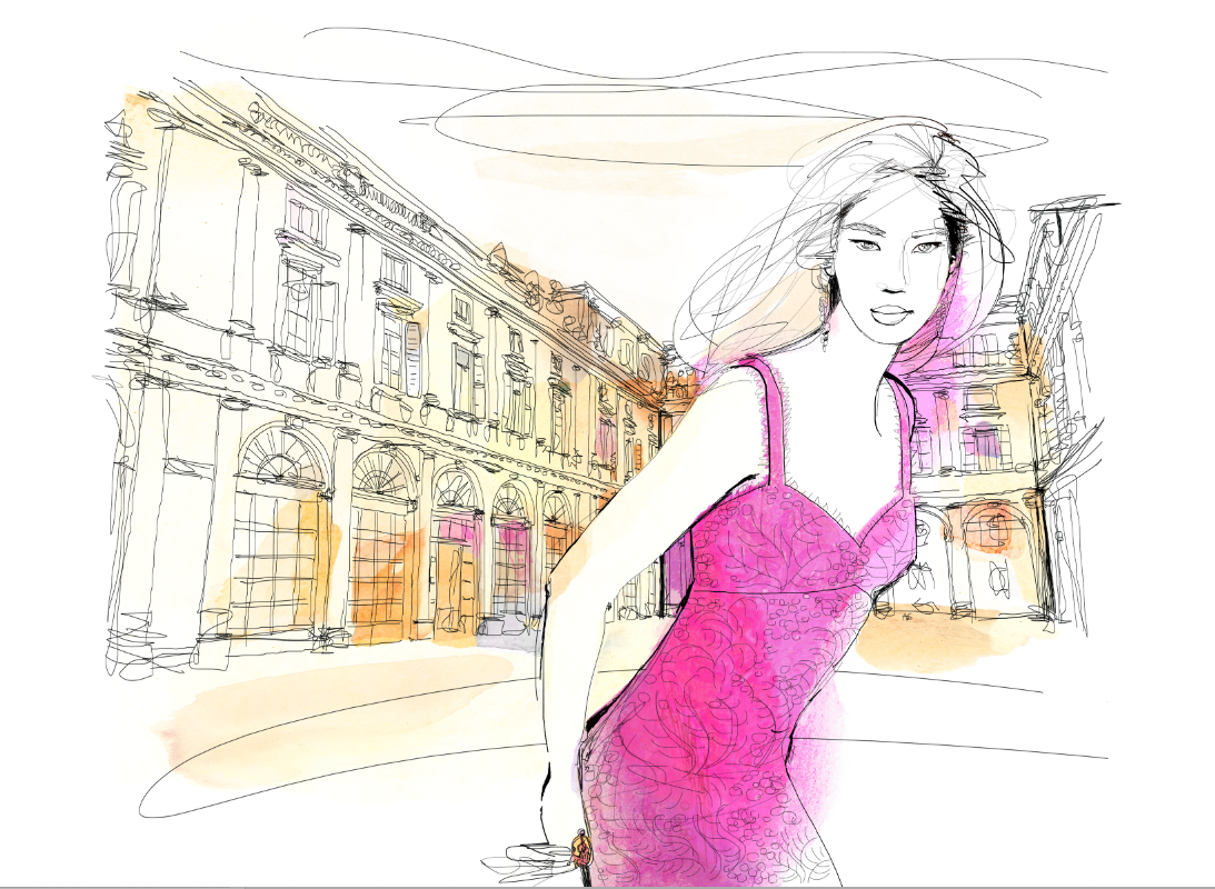 Watercolor illustration for fashion, milano, Palazzo Serbelloni, Patek Philippe event