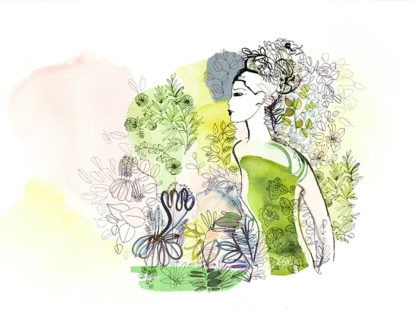 Watercolor fashion illustration, nature, Alessandra Scandella