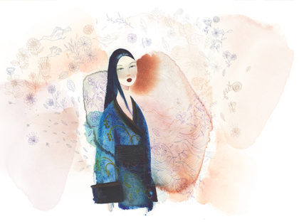 Watercolor fashion illustration, Japan, Alessandra Scandella