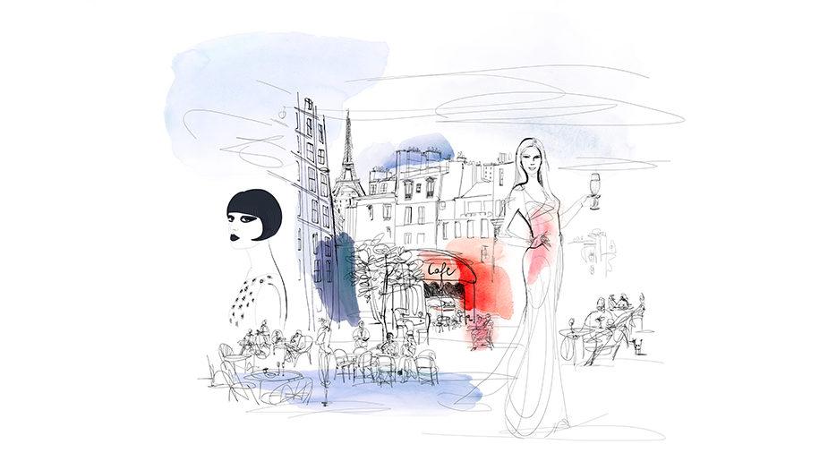 Watercolor fashion illustration, Paris, Alessandra Scandella