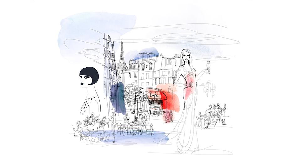 Watercolor fashion illustration, Paris