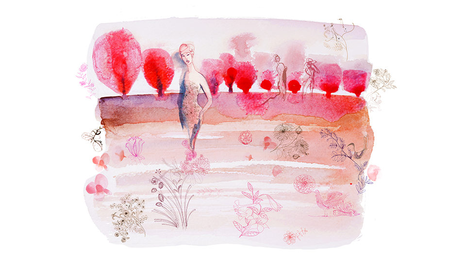 Watercolor fashion illustration, design, Alessandra Scandella