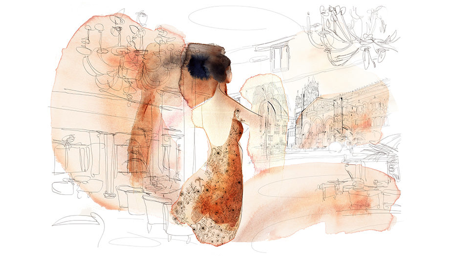 Watercolor fashion illustration, interior, Alessandra Scandella