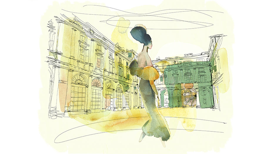 Watercolor fashion illustration, palazzo italiano, Alessandra Scandella