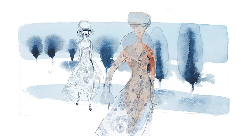 Watercolor fashion illustration, winter, nature, Alessandra Scandella