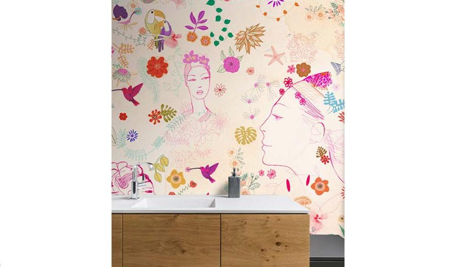 watercolor illustration, acquerello, decor, interior, wallpaper, fashion, flower, Alessandra Scandella