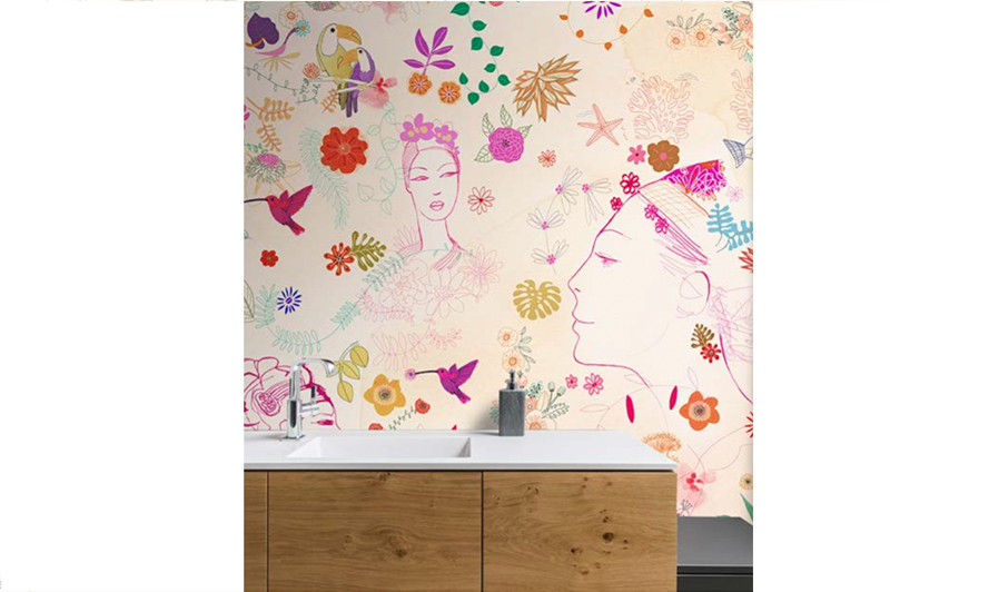 watercolor illustration, acquerello, decor, interior, wallpaper, fashion, flower
