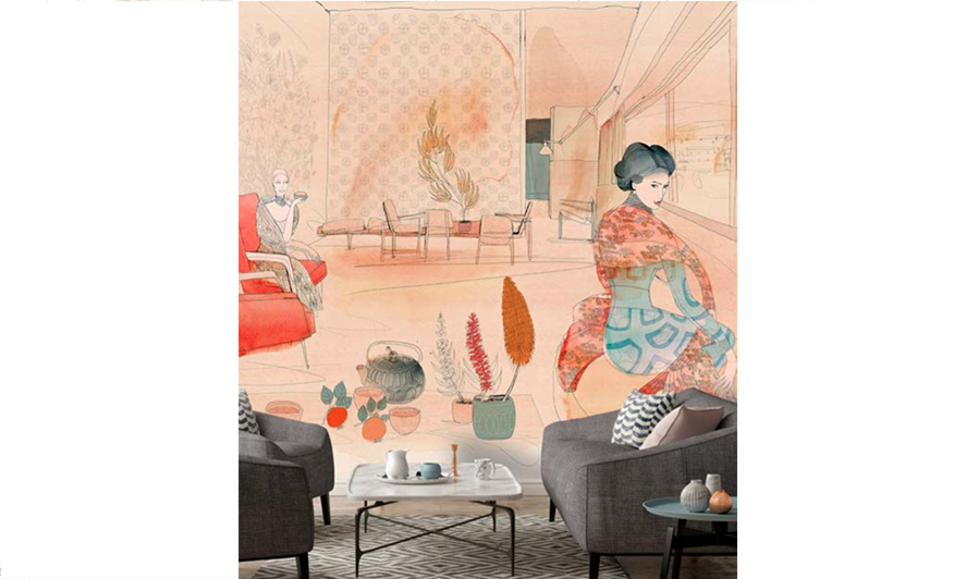 watercolor illustration, acquerello, interior, wallpaper, fashion style and Japan style, city, wallpaper