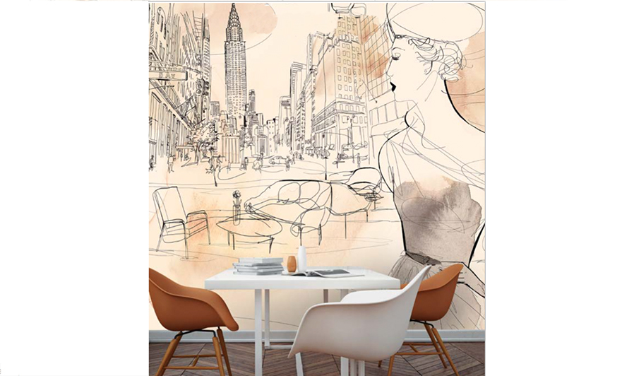 watercolor illustration, acquerello, interior, wallpaper, fashion style and New York, city, wallpape
