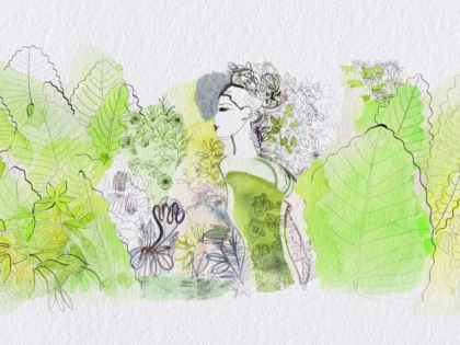 watercolor illustration, fashion, nature, animation, Alessandra Scandella