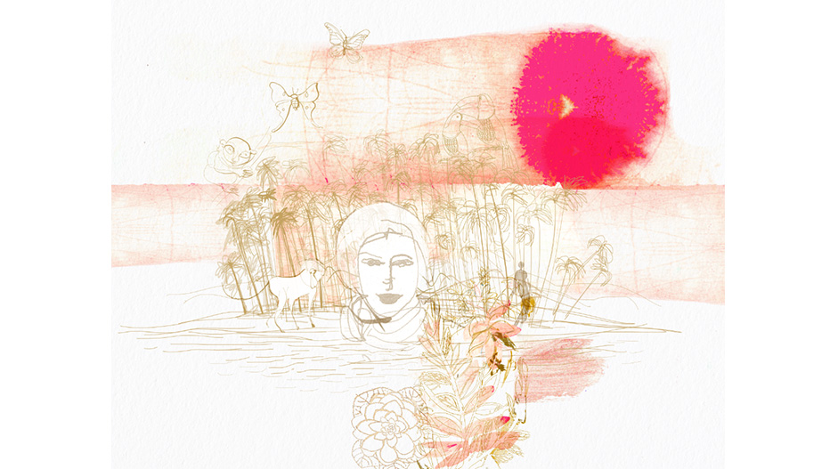 Watercolor fashion illustration, travel and planet, decor