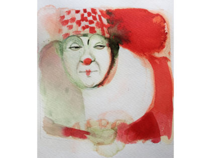 Watercolor illustration, 1, circus, ink, clown, Alessandra Scandella