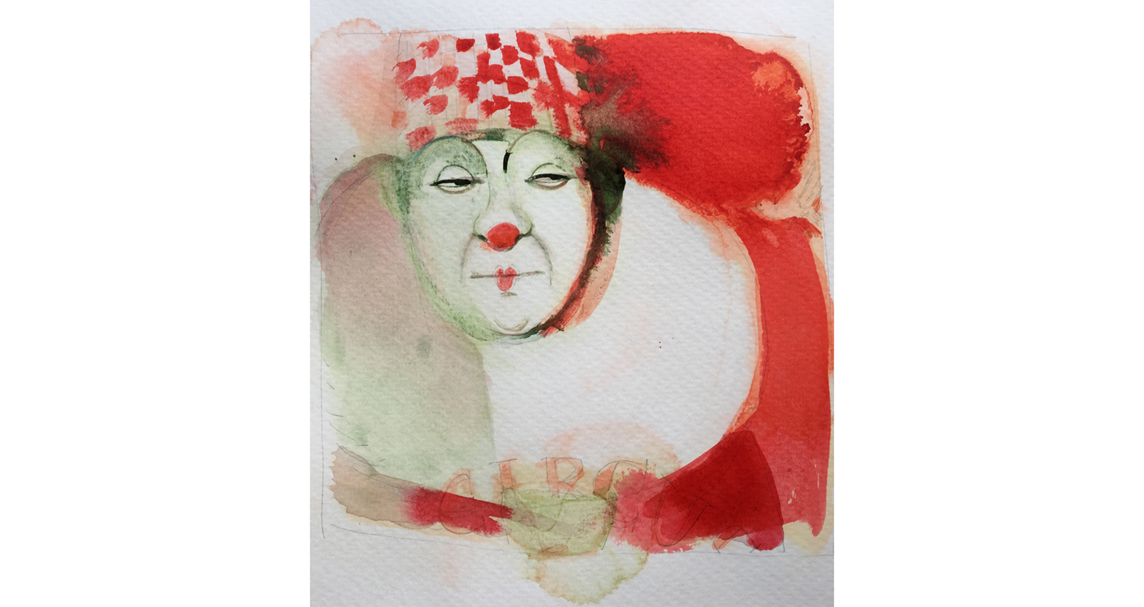Watercolor illustration, circus, ink, portrait, clown, sketchbook