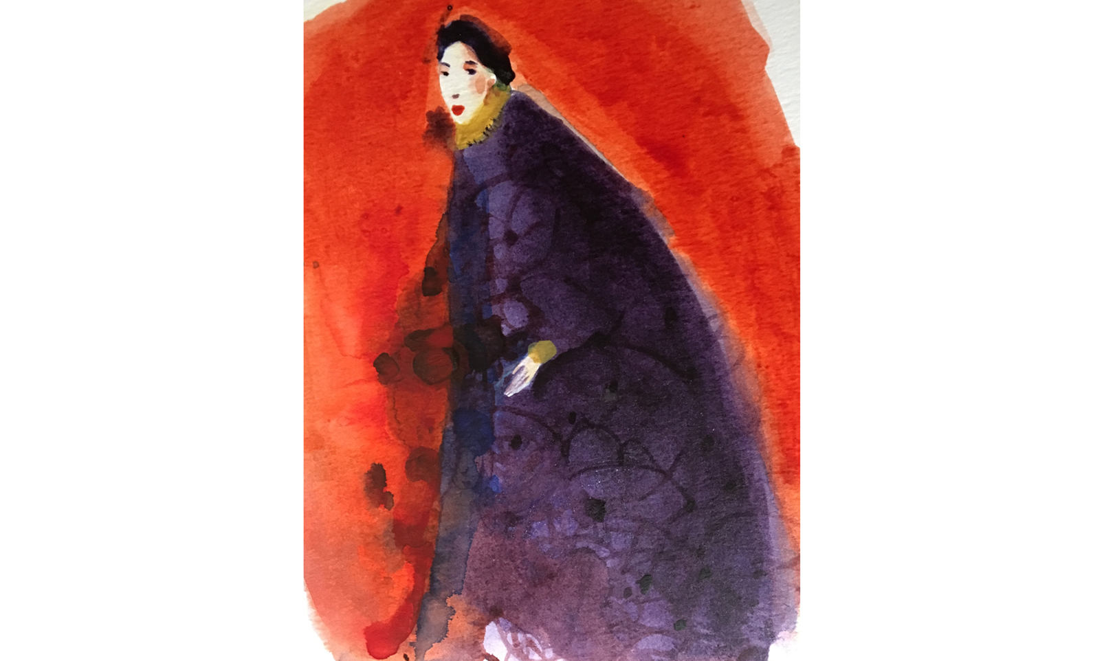 Watercolor illustration, circus, ink, portrait, fashion, sketchbook