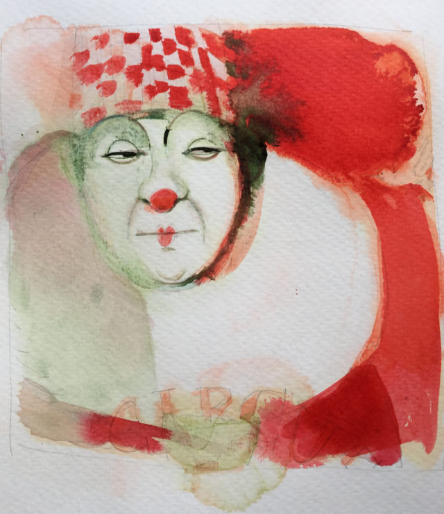 Watercolor illustration, circus, ink, clown, Alessandra Scandella