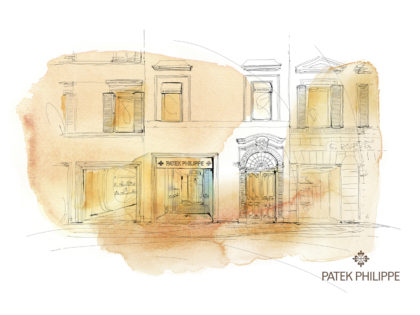 Watercolor illustration, map, Milan, palazzo, Alessandra Scandella