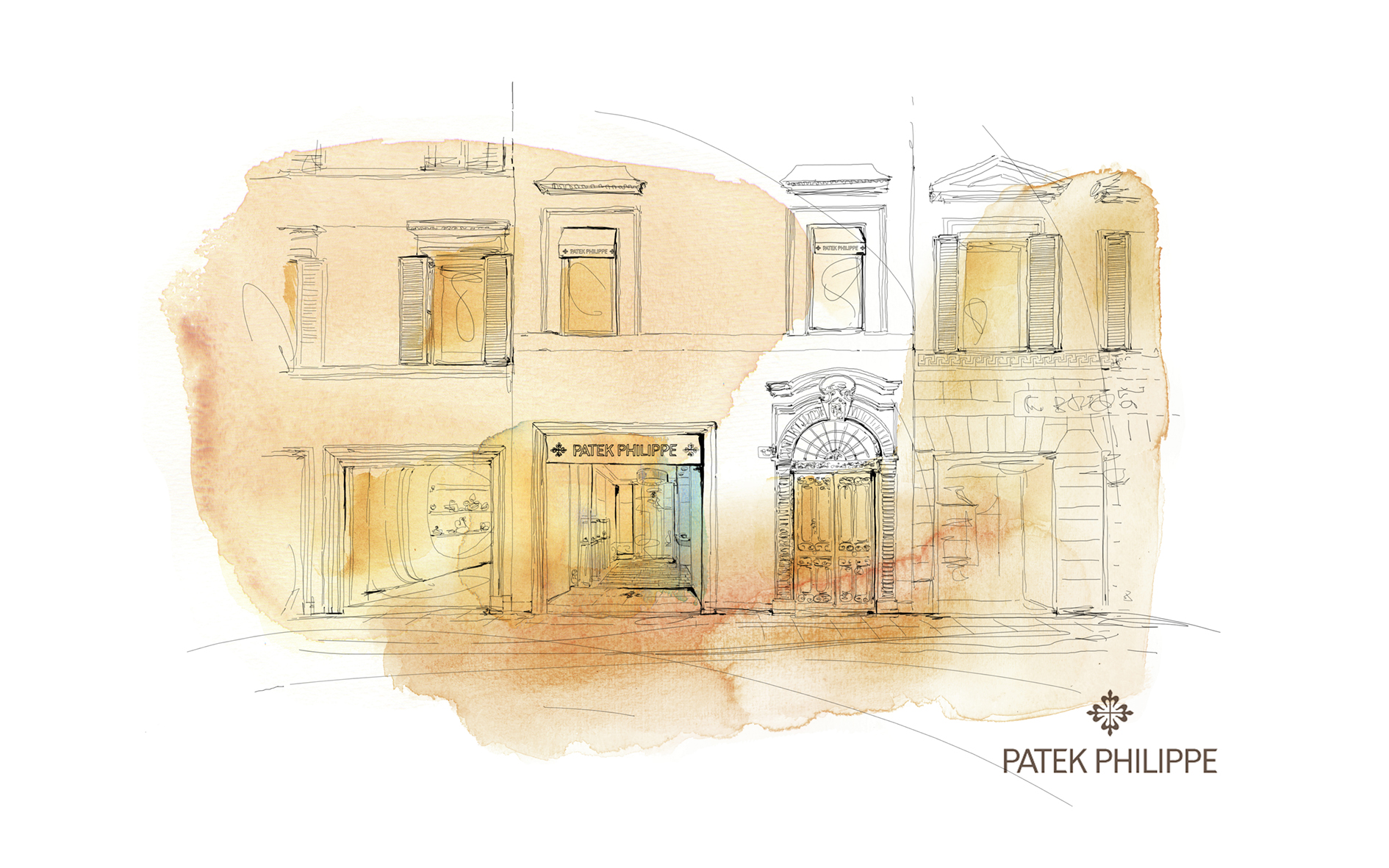 Watercolor illustration, map, Milan, palazzo