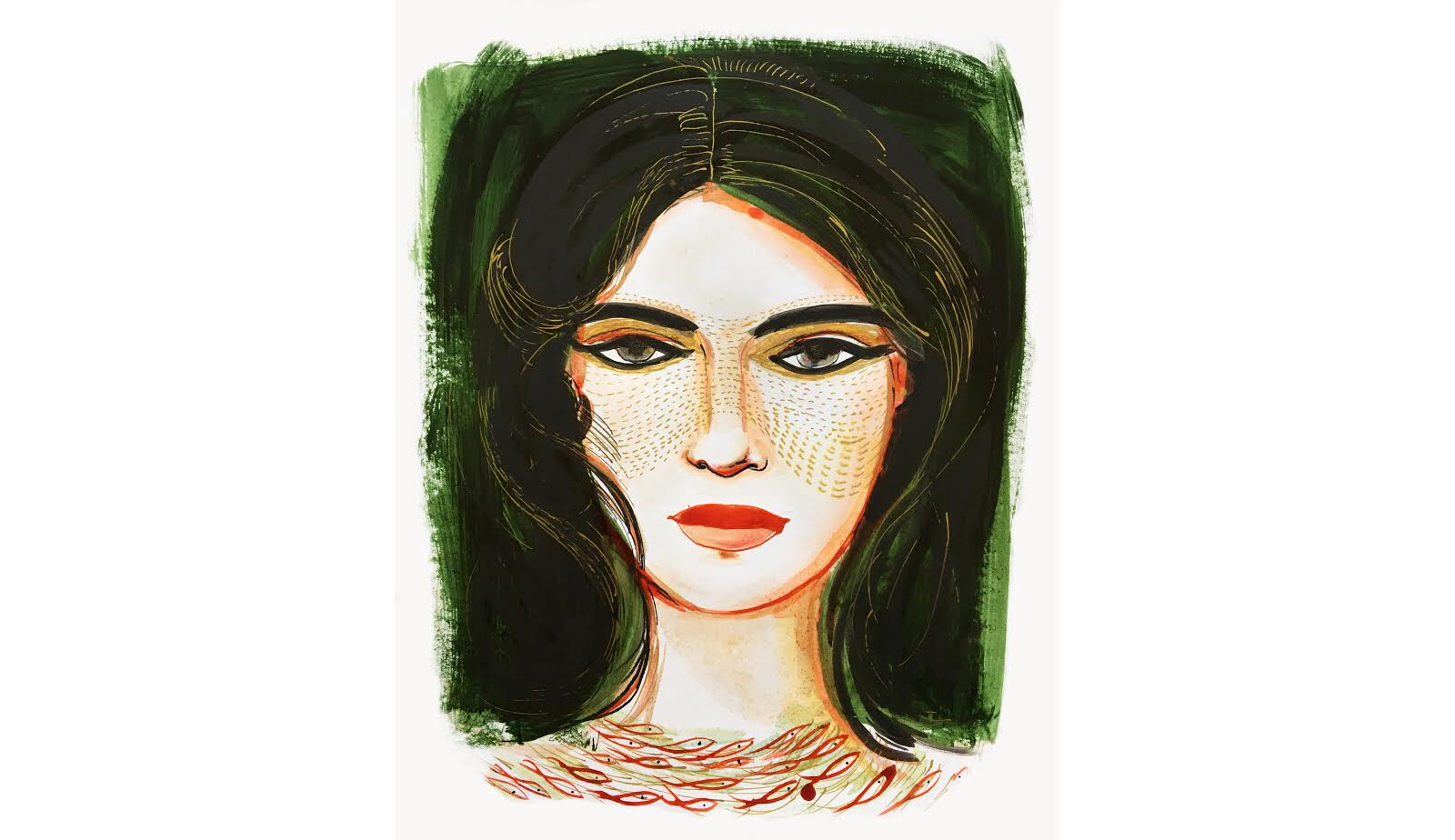 Portrait, watercolor and ink fashion illustration