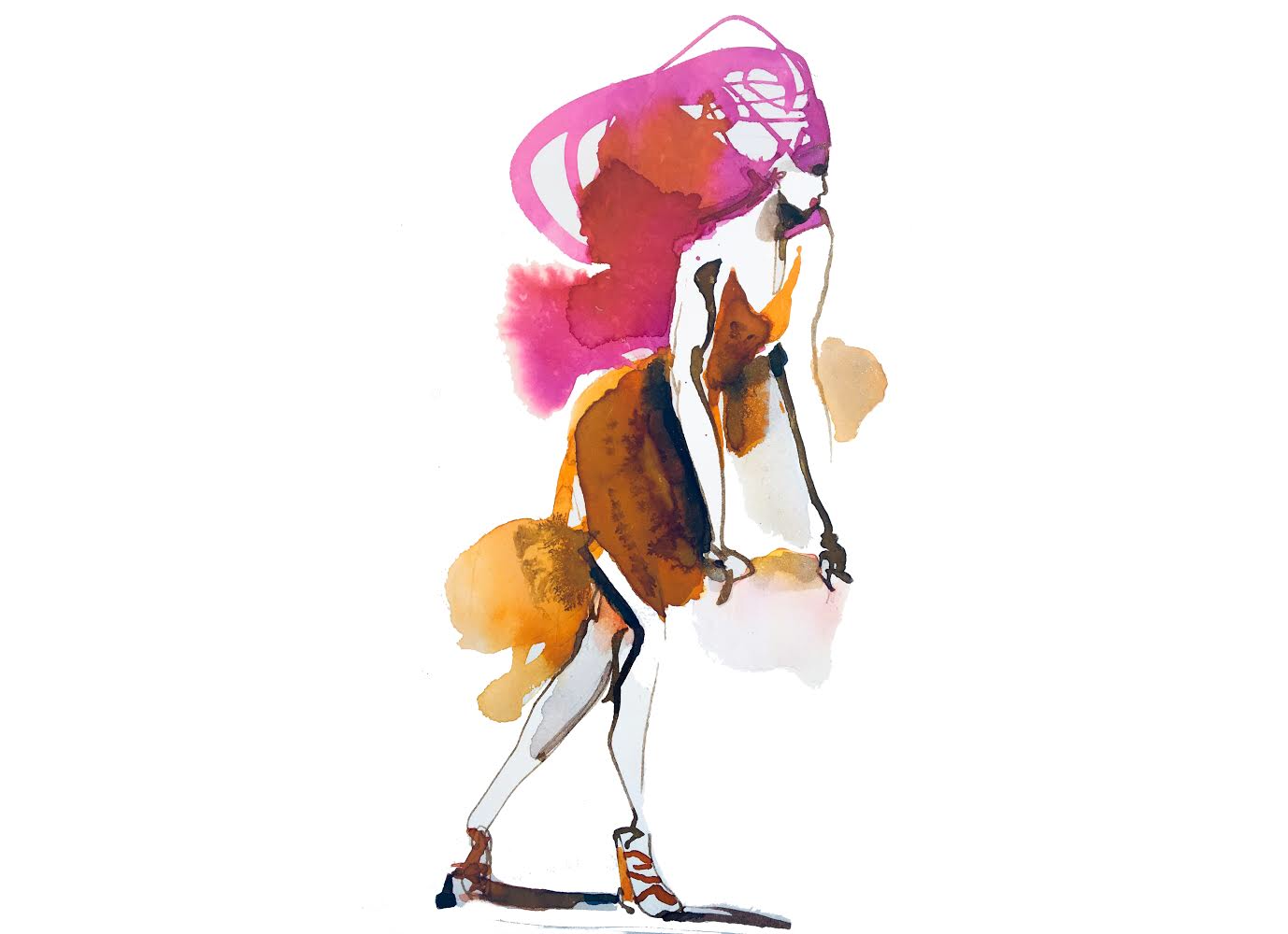Watercolor and ink fashion illustratio