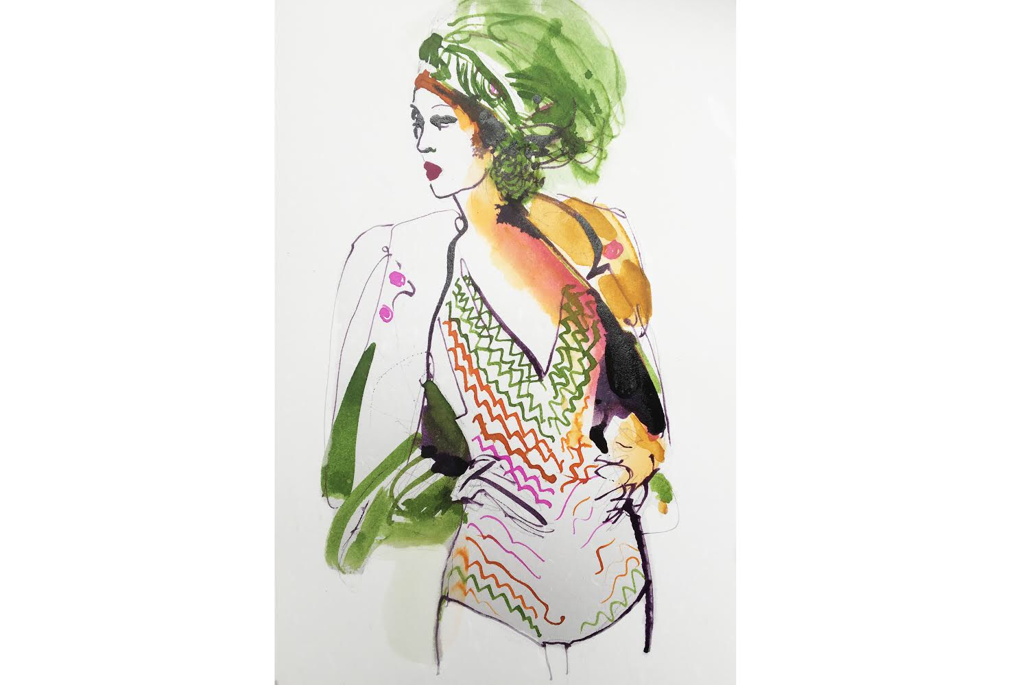 Watercolor and ink fashion illustration