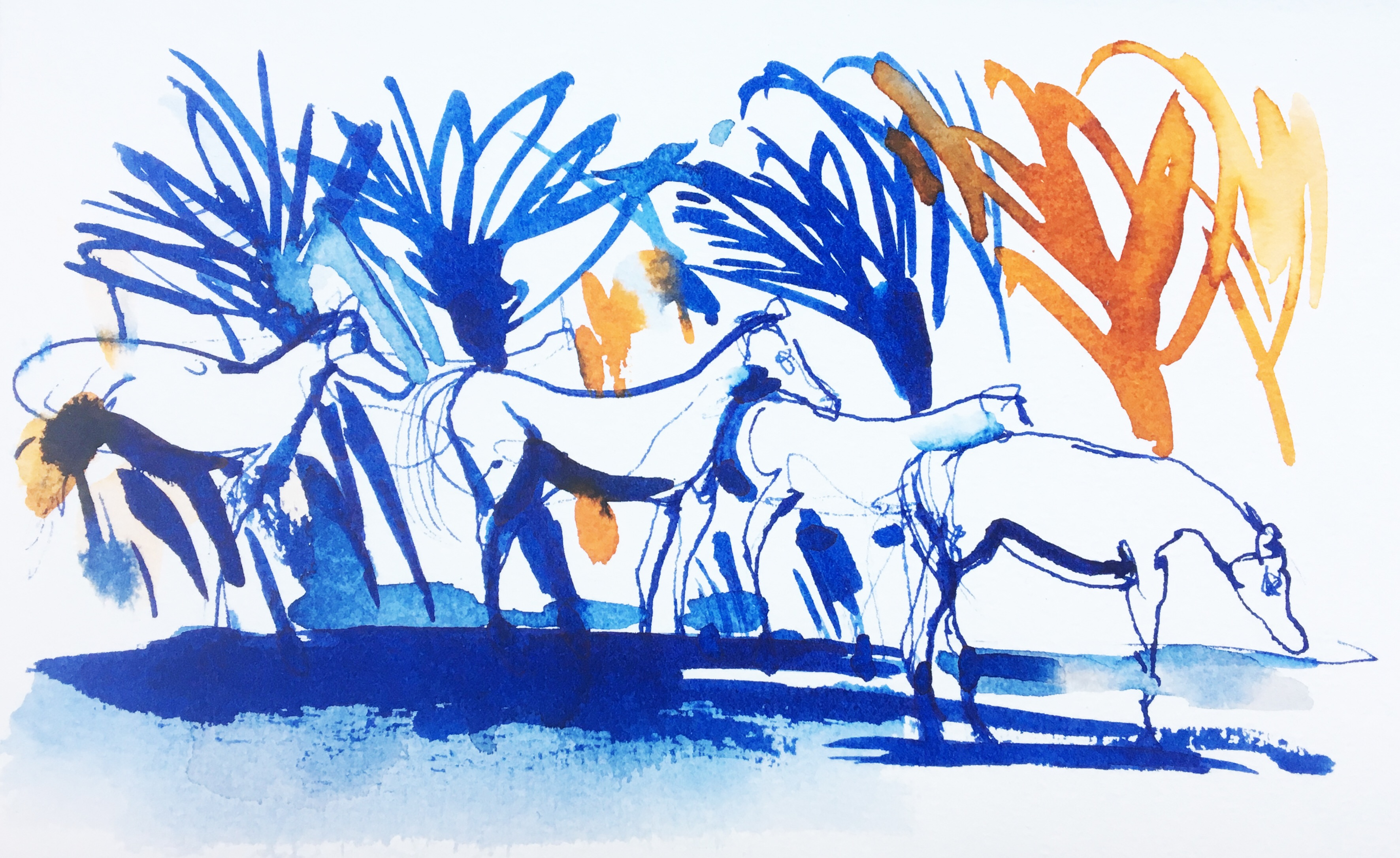 Watercolor and ink illustration, horses