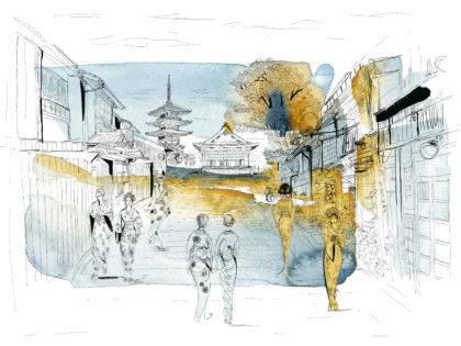 Watercolor illustration, Japan and Tokyo, Japan, city and people. Alessandra Scandellajpg