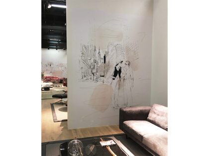 @DESEDE @immcologne fair, watercolor illustration, design, cinema, movie, interior, Alessandra Scandella