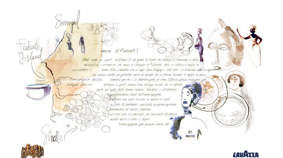 Lavazza Calendar, The earth defenders, watercolor illustration, food, Alessandra Scandella