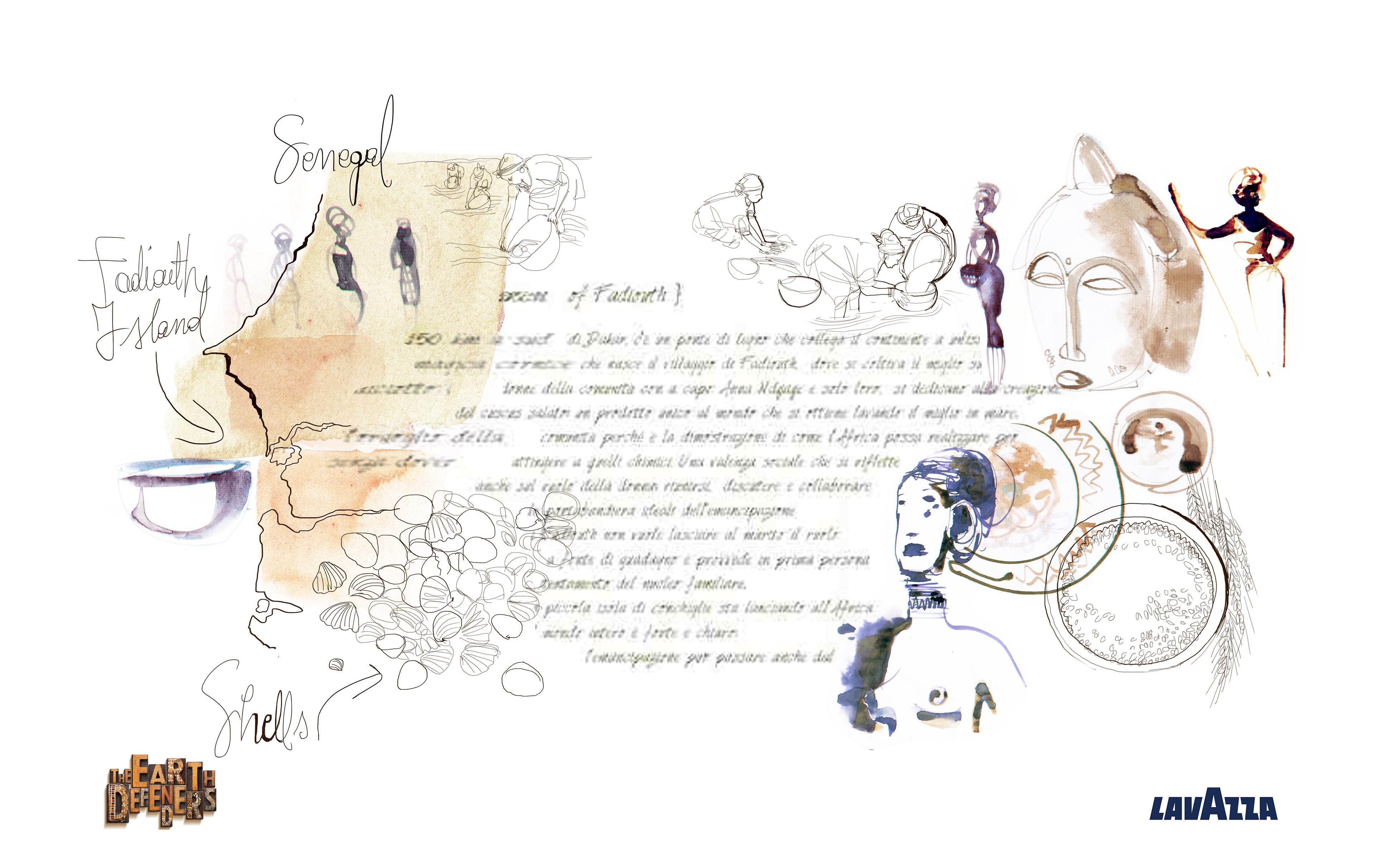Lavazza Calendar, The earth defenders, watercolor illustration