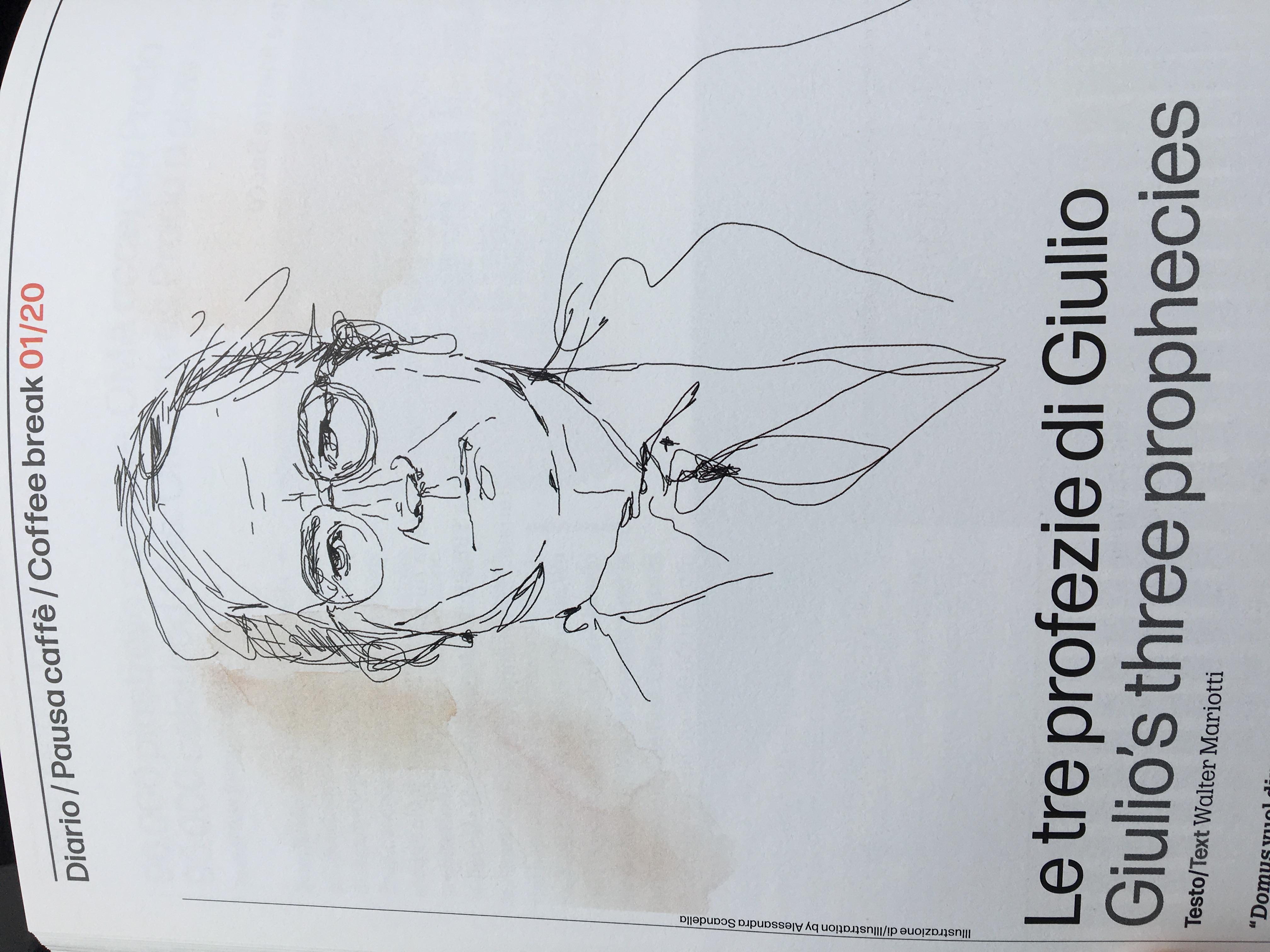 A watercolor illustration for Domus magazine, portrait of Giulio Tremonti