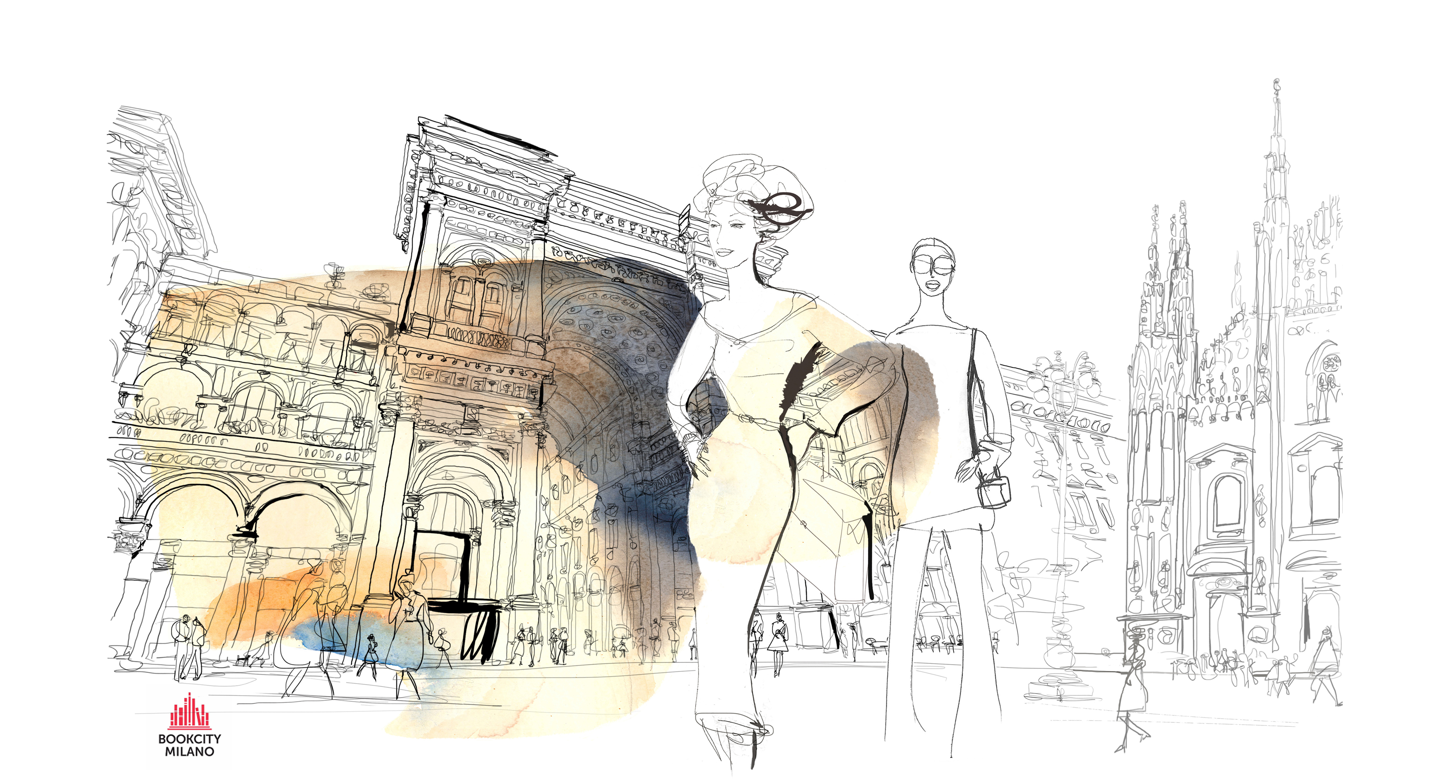 Watercolor illustration, Bookcity, fashion in Milan