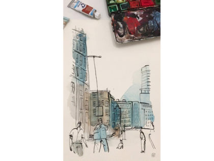 Watercolor city illustration, sketchbook, Alessandra Scandella