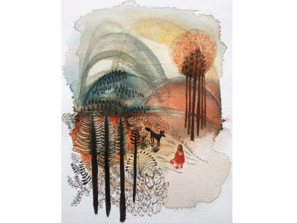 Watercolor illustration, little red riding hood