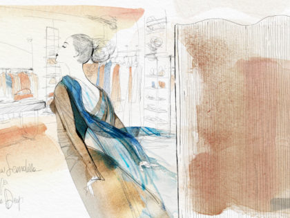 Watercolor fashion illustration, BlueDeep Milano, Alessandra Scandella