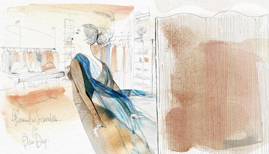 Watercolor fashion illustration, BlueDeep Milano, Alessandra Scandella