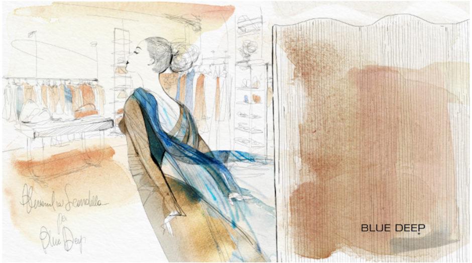 Watercolor illustration fashion, Blue Deep, Alessandra Scandella