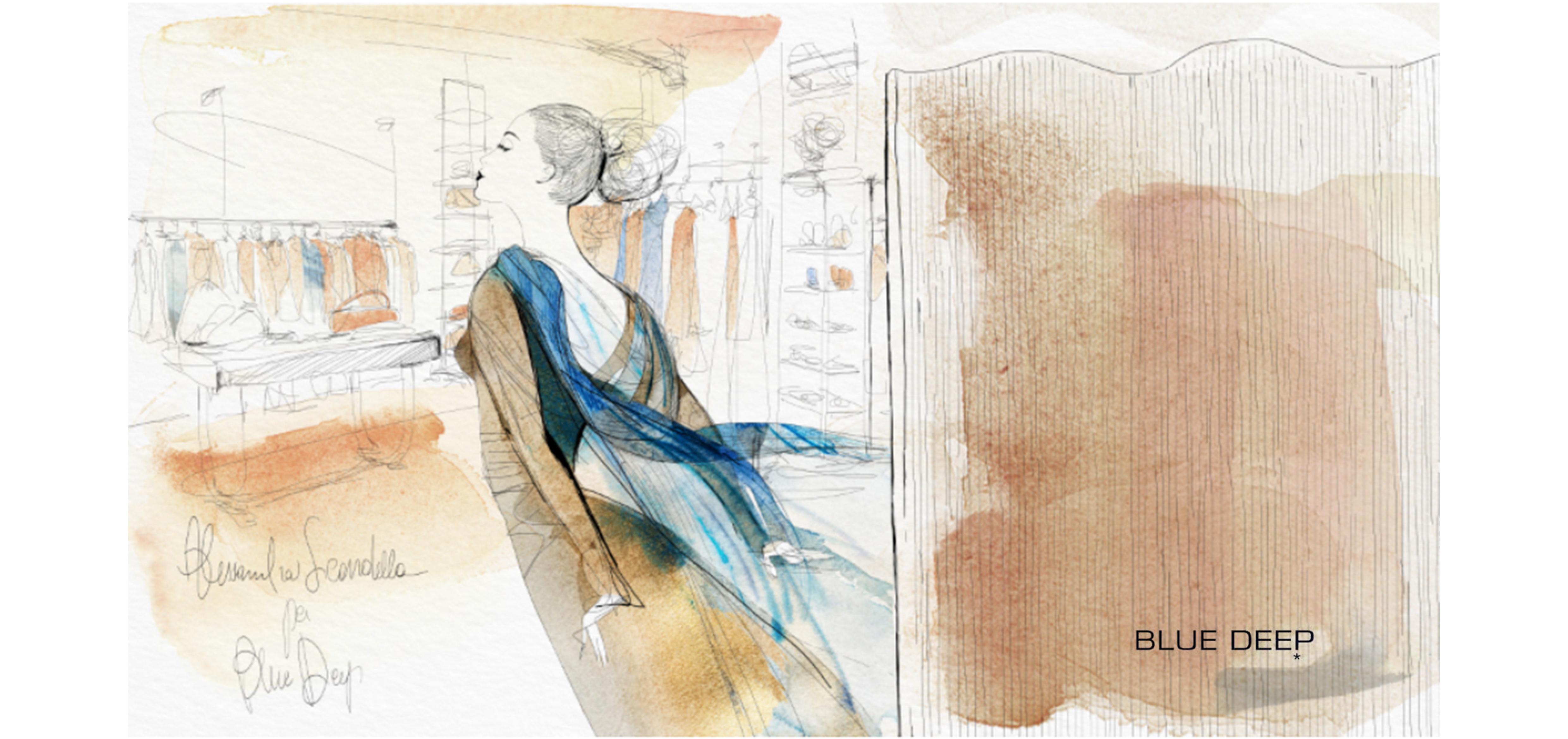 Watercolor illustration fashion, Blue Deep