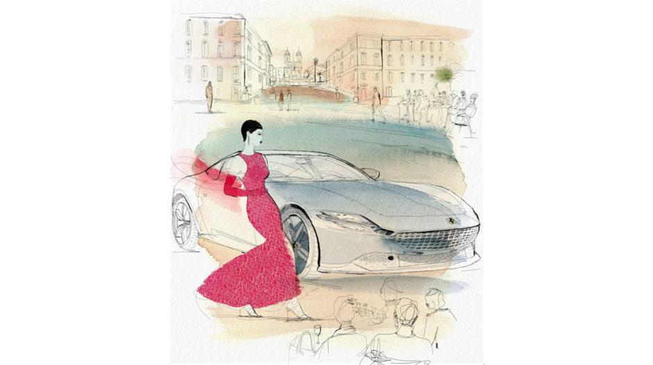 Watercolor and ink fashion illustration, Ferrari, 1, Alessandra Scandella