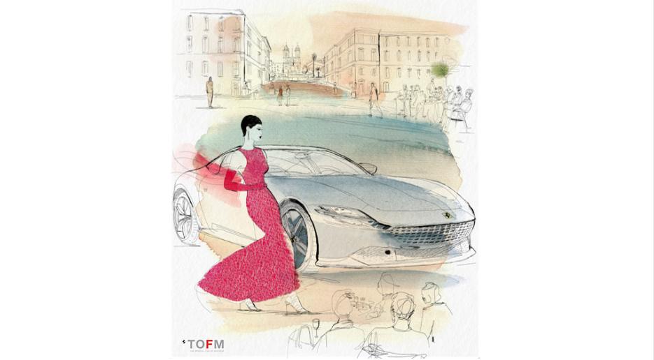 Watercolor fashion illustration, Ferrari, Alessandra Scandella